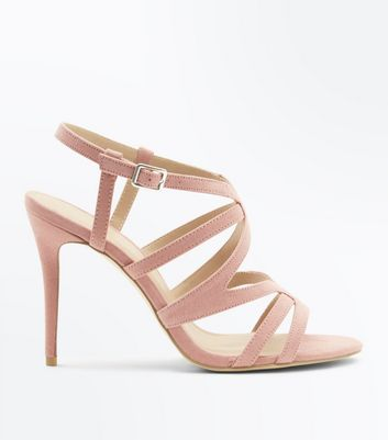 Wide Fit Pink Suedette Strappy Stiletto Sandals