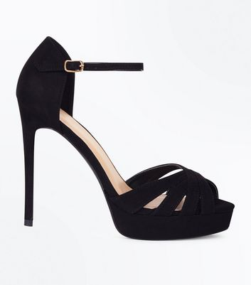 Wide Fit Black Suedette Platform Stiletto Sandals