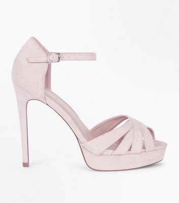 Wide Fit Nude Suedette Platform Stiletto Sandals