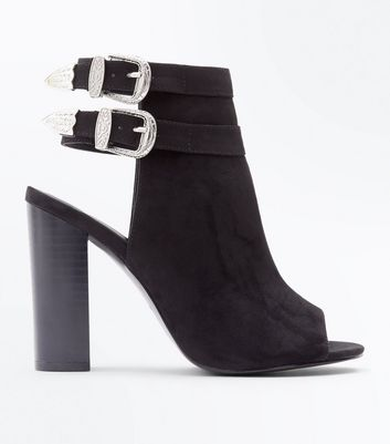 cheap pre order official for sale New Look Wide Fit Western Buckle Peep Toe Shoe Boot authentic cheap price afgDH