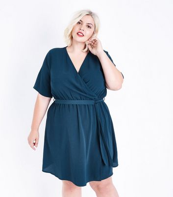 Curves Dark Green Wrap Front Dress