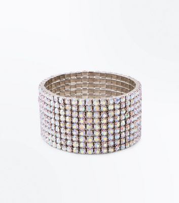 Silver Iridescent Diamante Stretch Bracelet
