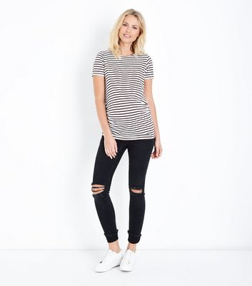 Maternity Black Turn Up Hem Over Bump Skinny Jeans