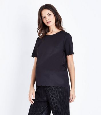 Maternity Black Scallop Hem T-Shirt