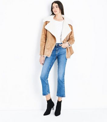 Blue Cropped Kick Flare Jeans