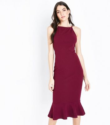 AX Paris Plum Frill Hem High Neck Midi Dress