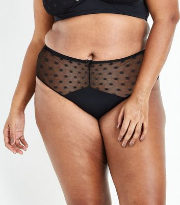 Curves Black Spot Mesh Brazilian Briefs