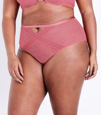 Curves Mid Pink Geometric Lace Brazilian Briefs