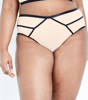 Curves Stone Contrast Seam High Waist Briefs