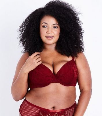 Curves Burgundy Fishnet and Lace Bra