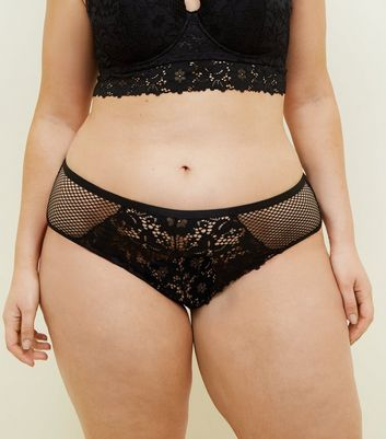 Curves Black Lace and Fishnet Brazilian Briefs