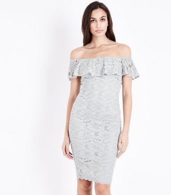 AX Paris Silver Lace Bardot Neck Dress