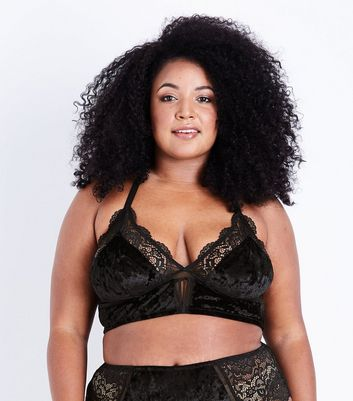 Curves Black Velvet and Lace Bralette