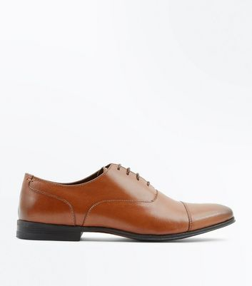 Tan Leather Burnished Toe Derby Shoes
