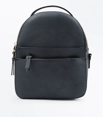 Black Double Zip Front Micro Backpack