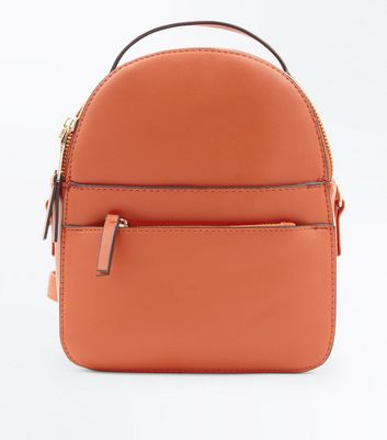 Orange Double Zip Front Micro Backpack