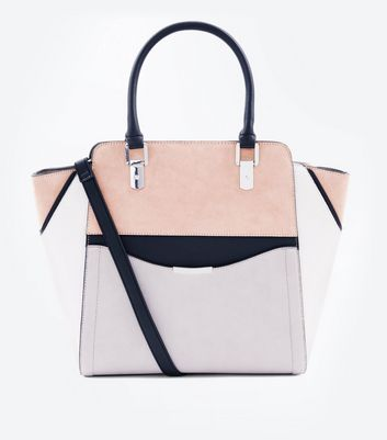 Grand sac structuré taupe style color block