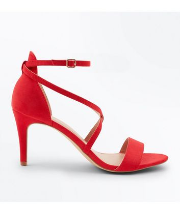 Red Suedette Strappy Stiletto Sandals