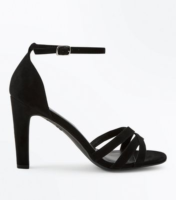 Black Suedette Slim Block Heel Strappy Sandals