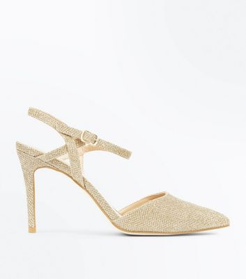 Gold Glitter Cross Strap Side Pointed Courts