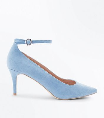 Pale Blue Suedette Ankle Strap Pointed Courts
