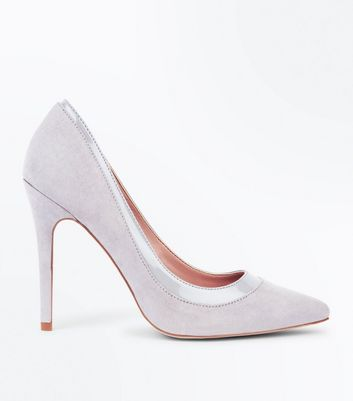 Grey Suedette Patent Trim Pointed Court Shoes