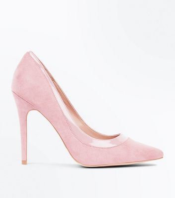 Pink Suedette Patent Trim Pointed Court Shoes