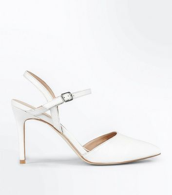 White Open Back Pointed Court Shoes
