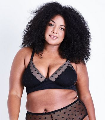 Curves Black Polka Dot Bralet