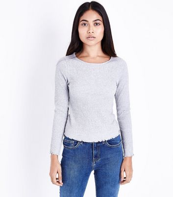 Petite Grey Crinkle Long Sleeve Top
