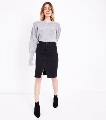 Tall Black Split Hem Denim Midi Skirt