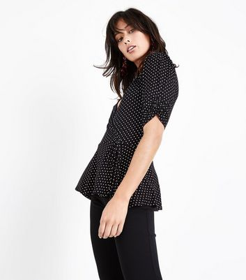 Tall Black Polka Dot Wrap Top