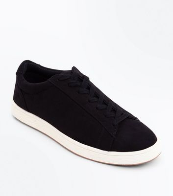 Black Suedette Contrast Sole Trainers by New Look