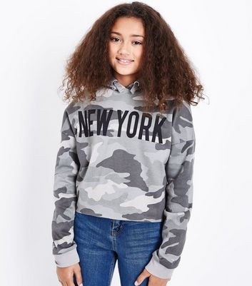 Teens Green Camo New York Hoodie