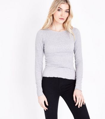 Tall Grey Crinkle Long Sleeve T-Shirt