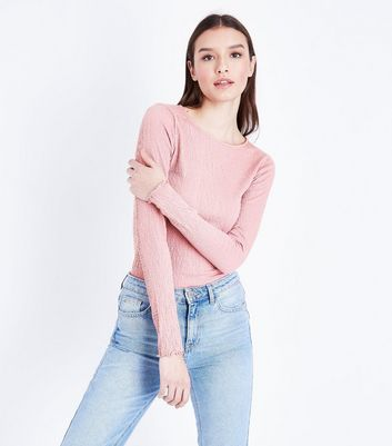 Tall Pink Crinkle Long Sleeve T-Shirt