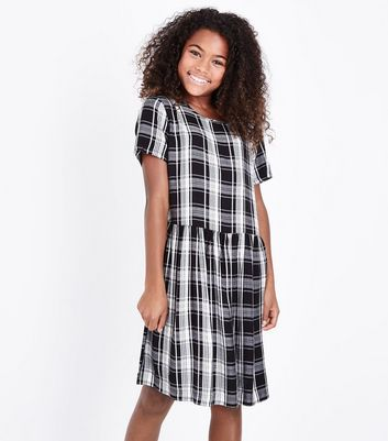 Teens Black Check Smock Dress