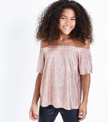 Teens Pink Metallic Bardot Neck Top