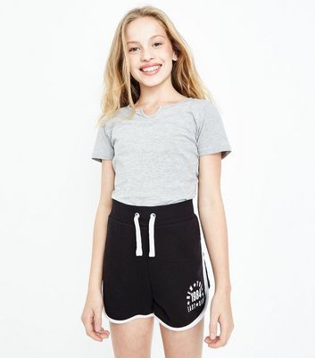 Black Stripe Side NYC Print Shorts
