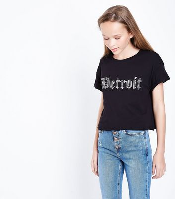 Teens Black Detriot Studded T-shirt