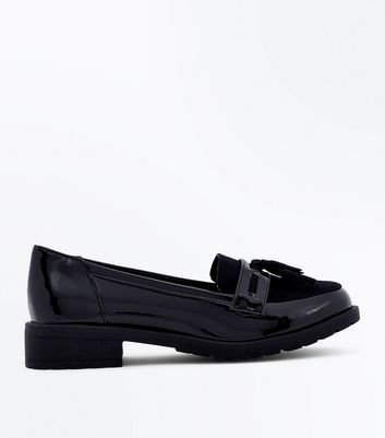 Girls Black Patent Chunky Sole Loafers by New Look