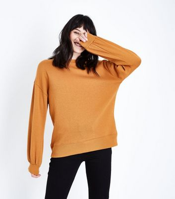Light Brown Gathered Balloon Sleeve Sweatshirt