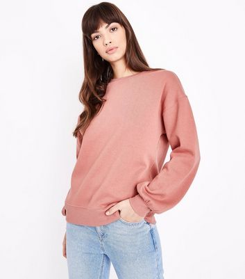 Rust Gathered Balloon Sleeve Sweatshirt