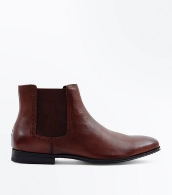 Dark Brown Leather Brogue Trim Chelsea Boots