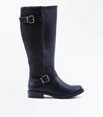 Wide Fit Black Woven Back Knee High Boots