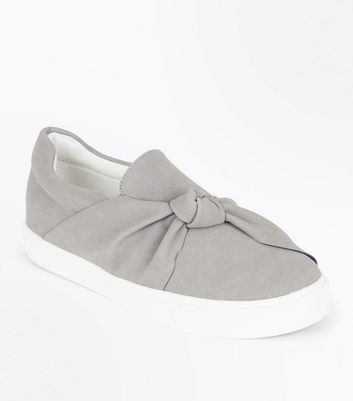 Teenager – Graue Slip-on Sneaker mit Zierknoten