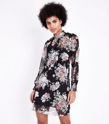 Black Floral Mesh High Neck Mini Dress