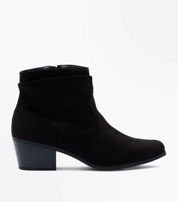 Black Suedette Slouch Western Boots