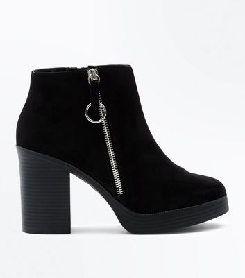 Black Suedette Block Heel Zip Side Boots