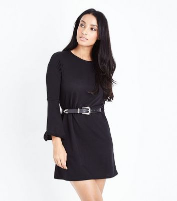 Black Flared Sleeve Jersey Tunic Dress